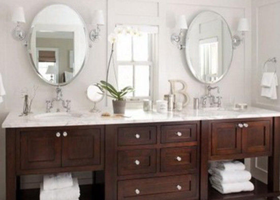 Economical Silver Framed Bathroom Mirrors , Wall Mounted Contemporary Silver Glass Mirror