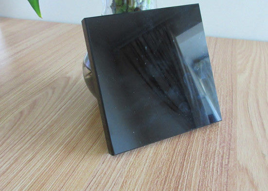 Black Tinted Mirror Glass 4mm Thickness , High Reflection Decorative Tinted Glass